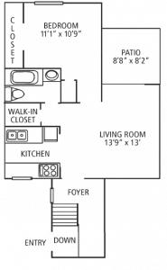 1 Bed / 1 Bath / 575 sq ft / Please Call