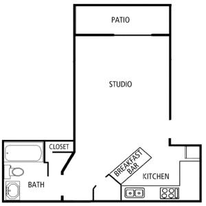 Studio Bed / 1 Bath / 475 sq ft / Please Call